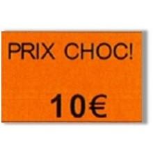 """Etiquette orange pré-imprimé """"Prix choc!"""" 26x16 mm pour étiqueteuse Sato Judo Promo"""