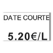 """Etiquette blanche pré-imprimé """"Date courte"""" 26x16 mm  pour etiqueteuse sato judo promo"""