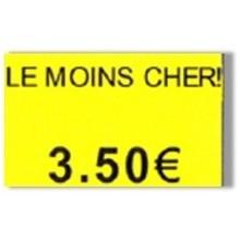 """Etiquette jaune pré-imprimé """"Le moins cher!"""" 26x16 mm pour étiqueteuse sato judo promo"""