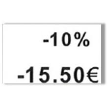 """Etiquette blanche pré-imprimé """"-10%"""" 26x16 mm  pour etiqueteuse sato judo promo"""