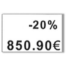 """Etiquette blanche pré-imprimé """"-20%"""" 26x16 mm  pour etiqueteuse sato judo promo"""