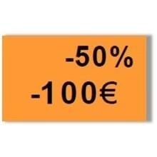 """Etiquette orange pré-imprimé """"-50%"""" 26x16 mm pour étiqueteuse Sato Judo Promo"""
