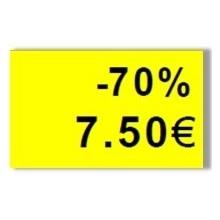 """Etiquette jaune pré-imprimé """"-70%"""" 26x16 mm pour étiqueteuse sato judo promo"""