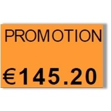 "Etiquette orange pré-imprimé ""Promotion"" 26x16 mm"