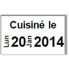"""Etiquette blanche pré-imprimé """"Cuisiné le"""" 26x16 mm  pour etiqueteuse sato judo food"""