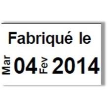 """Etiquette blanche pré-imprimé """"Fabriqué le"""" 26x16 mm  pour etiqueteuse sato judo food"""