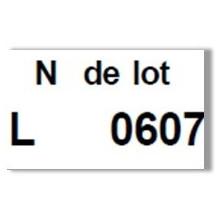 """Etiquette blanche pré-imprimé """"N° de lot"""" 26x16 mm  pour etiqueteuse sato judo food"""