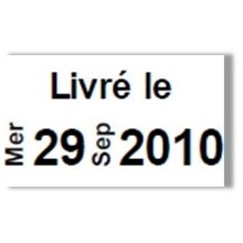 """Etiquette blanche pré-imprimé """"Livré le"""" 26x16 mm  pour etiqueteuse sato judo food"""