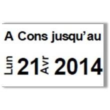 """Etiquette blanche pré-imprimé """"A Cons jusqu'au"""" 26x16 mm  pour etiqueteuse sato judo food"""