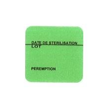 Etiquette de stérilisation double support verte 3 zones pour étiqueteuse 1158