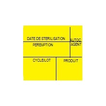 Etiquette de stérilisation double support jaune 6 zones pour étiqueteuse 1158