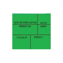 Etiquette de stérilisation double support verte 6 zones pour étiqueteuse 1158