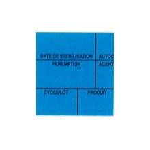Etiquette de stérilisation double support bleu 6 zones pour étiqueteuse 1158