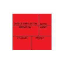 Etiquette de stérilisation double support rouge 6 zones pour étiqueteuse 1158