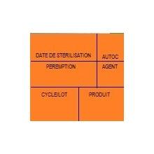 Etiquette de stérilisation double support orange 6 zones pour étiqueteuse 1158